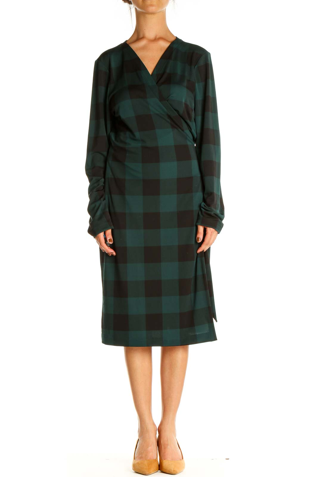 Green Checkered Day Sheath Dress Front