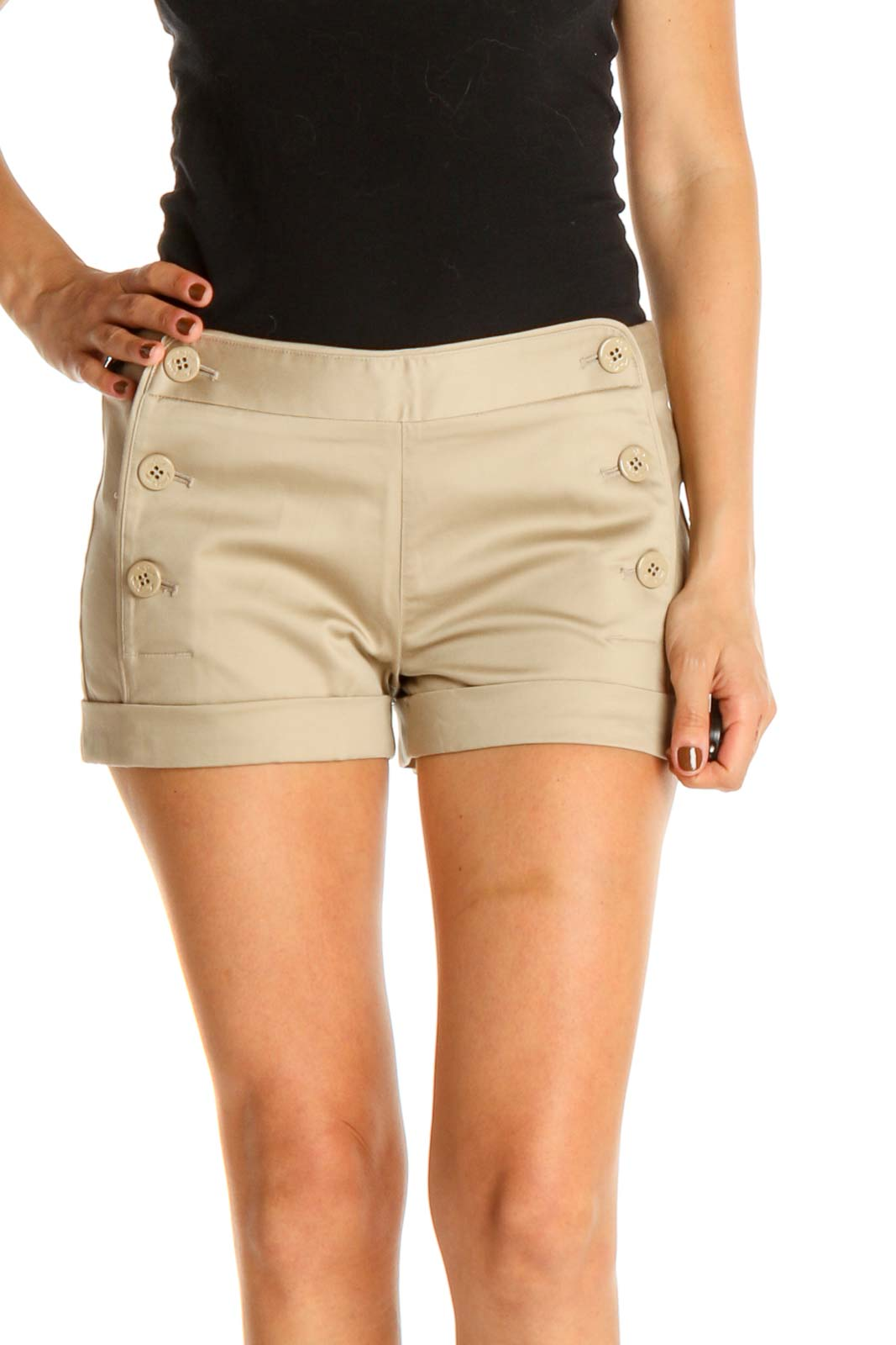 Beige All Day Wear Shorts Front