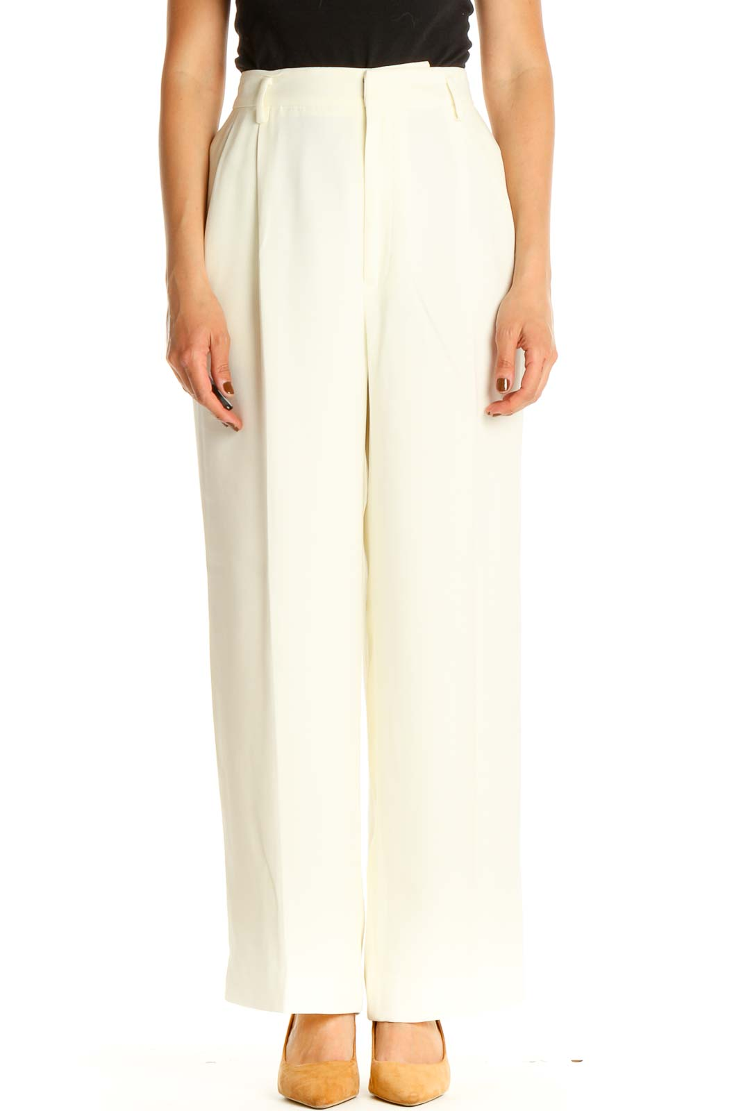 White Classic Trousers Front
