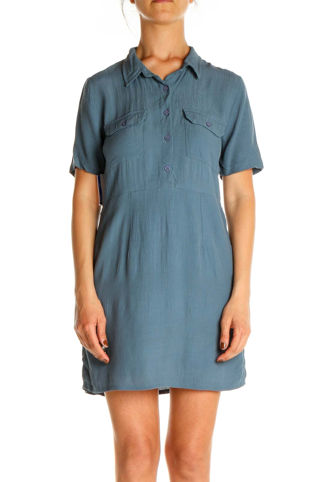 Blue Day Shift Dress Front