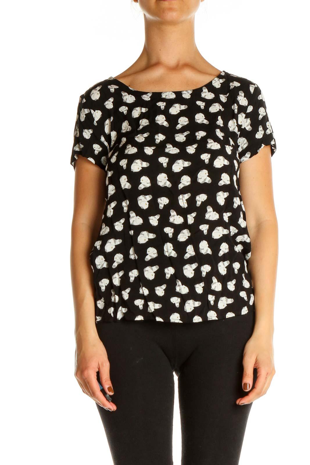 Black Printed Shirt Front