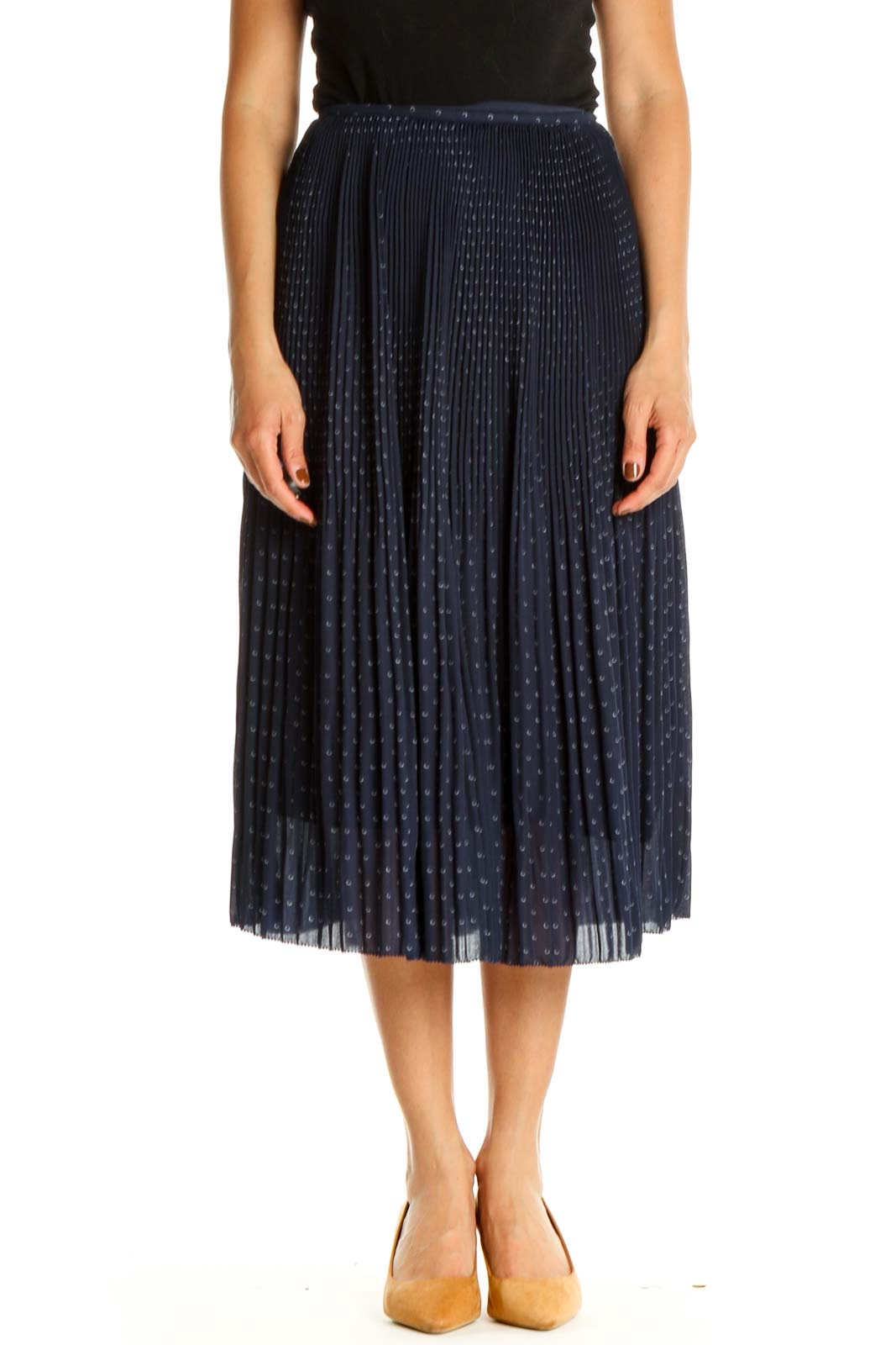 Blue Printed Holiday Pleated Skirt Front