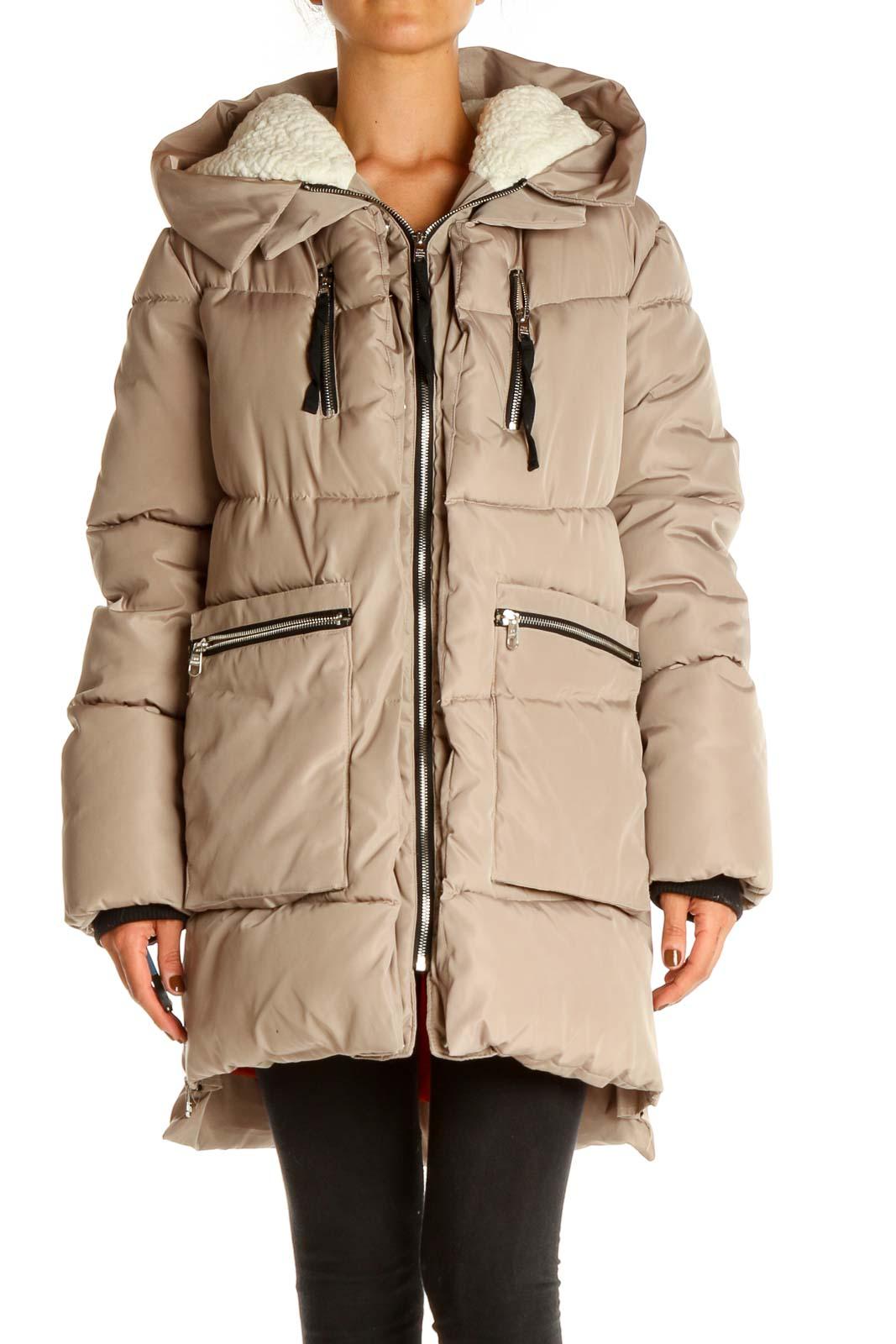 Gray Puffer Coat Front