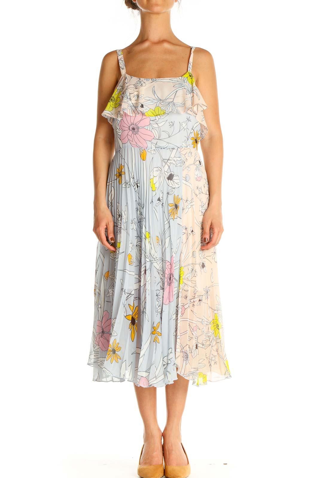 Beige Floral Print Fit & Flare Dress Front