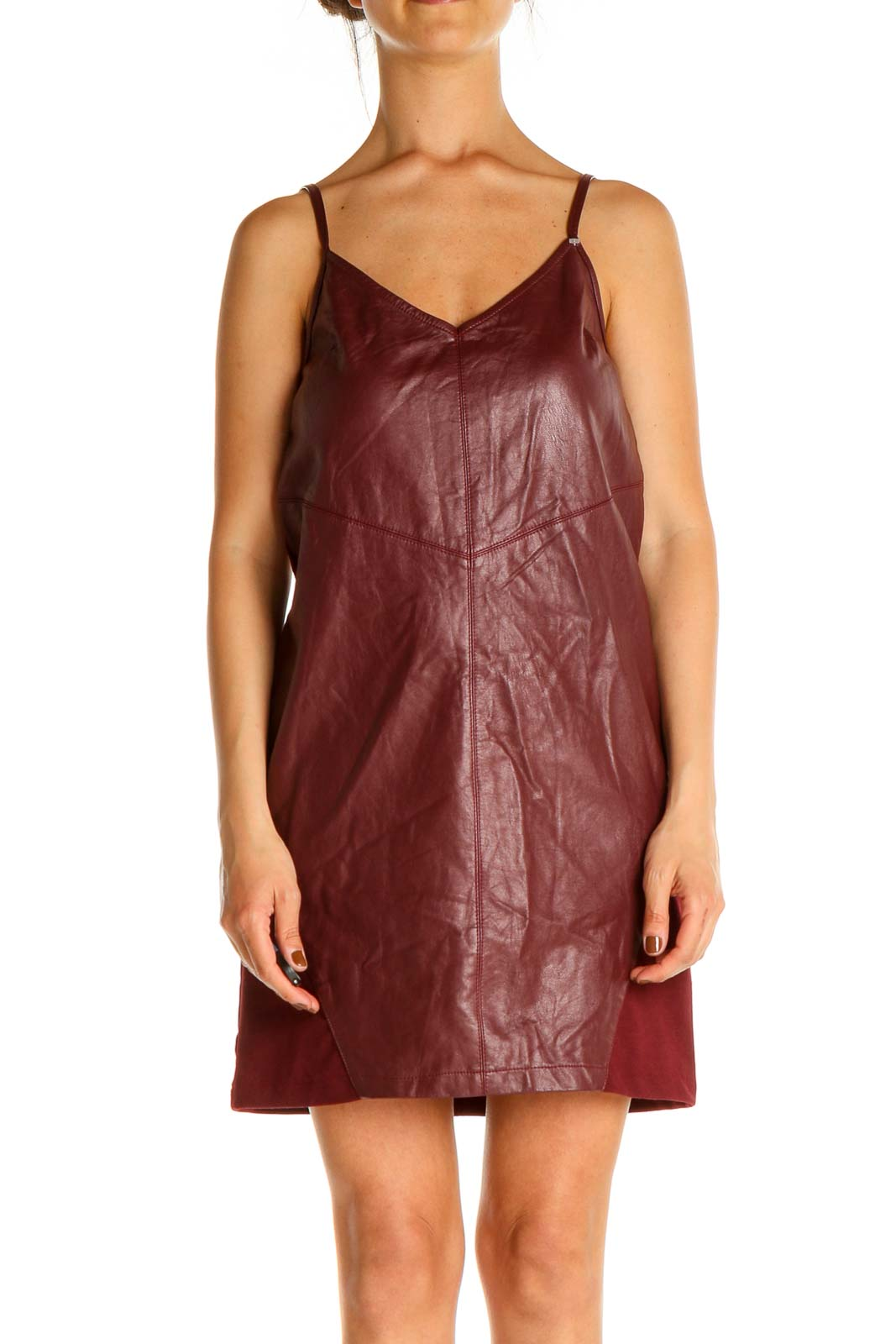 Red Textured A-Line Dress Front