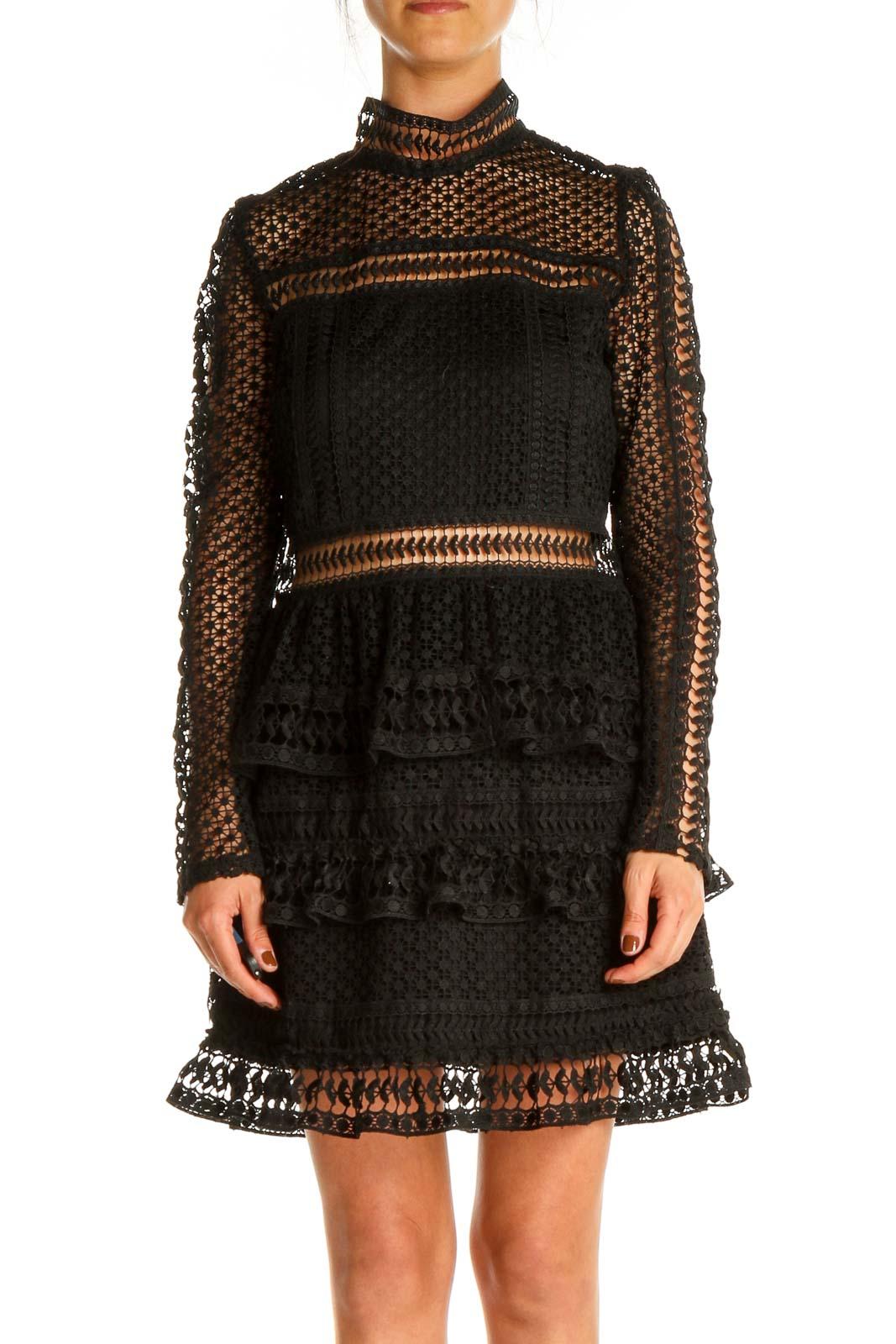 Black Cocktail Fit & Flare Dress Front