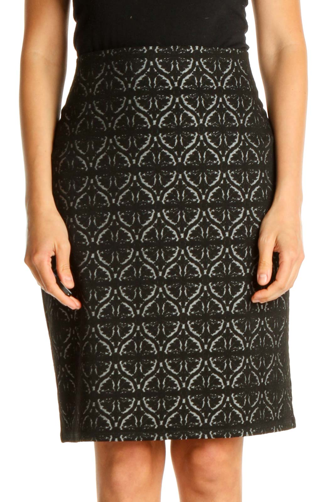 Black Printed Chic Pencil Skirt Front