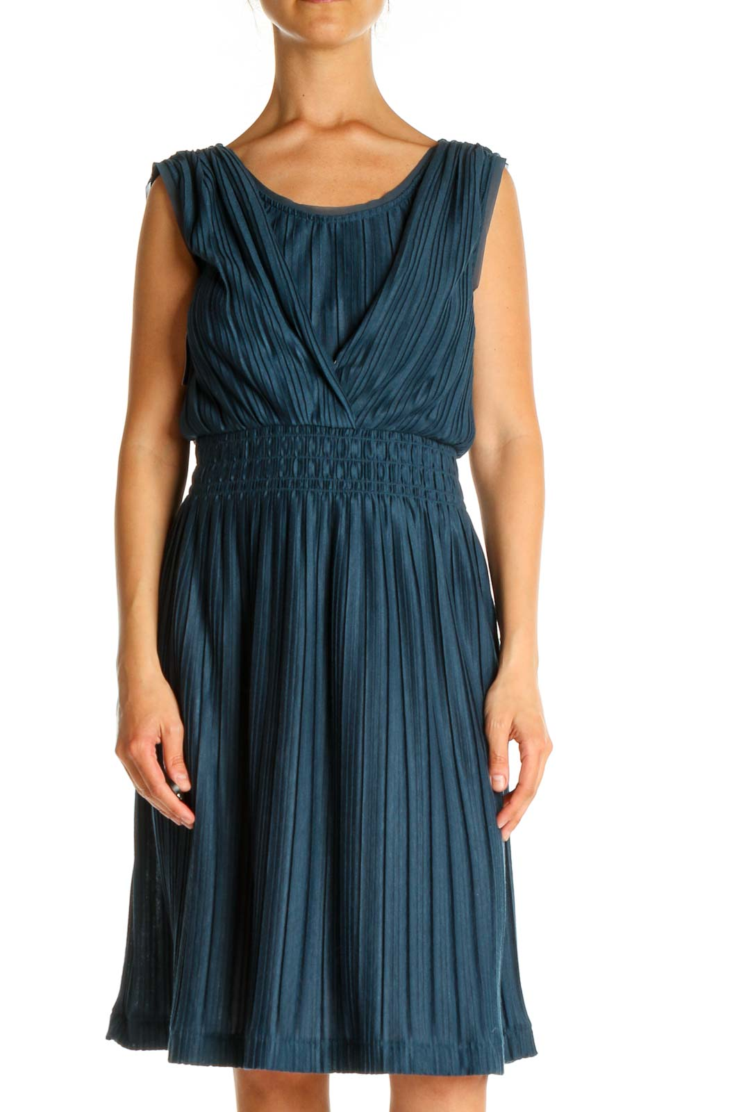 Blue Solid Classic Fit & Flare Dress Front