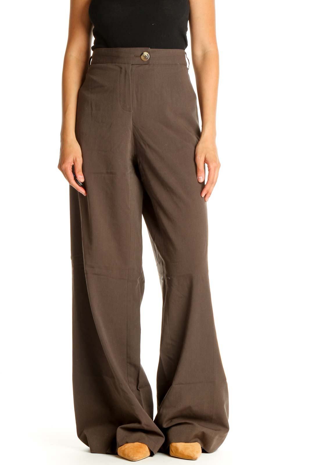 Brown Printed All Day Wear Trousers Front