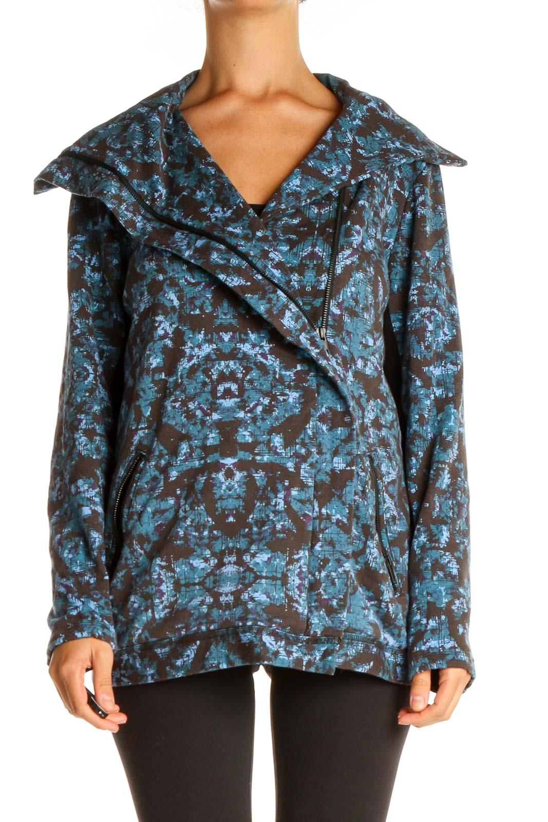 Blue Black Activewear Jacket Front