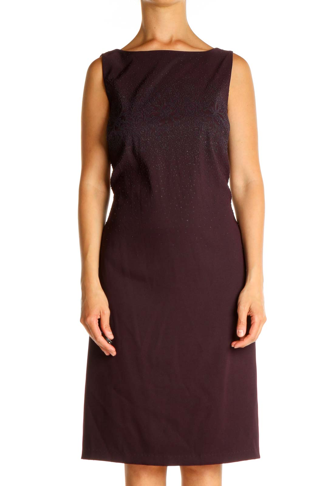 Purple Solid Sequin Classic Holiday Sheath Dress Front