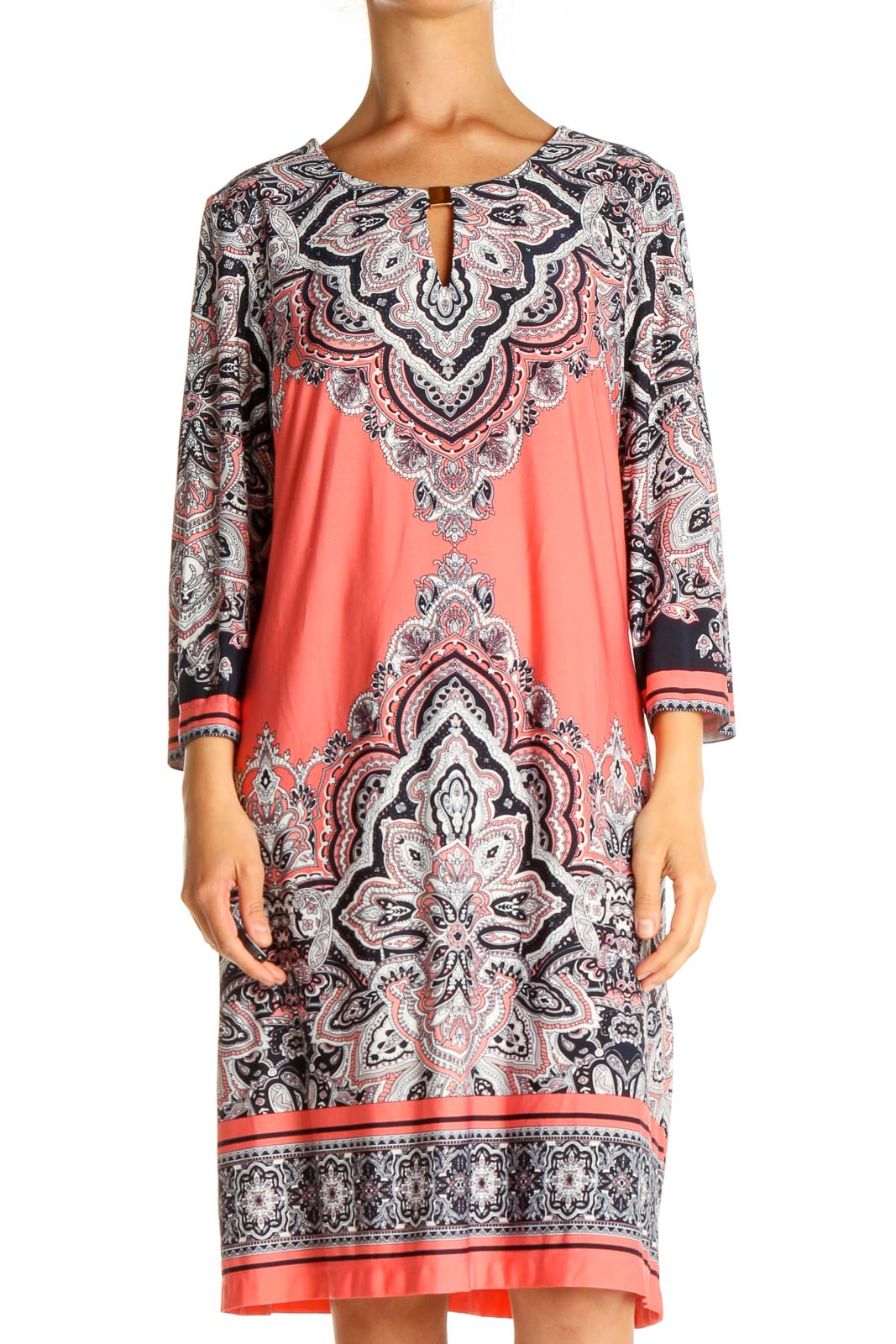 Pink Printed Holiday Shift Dress Front