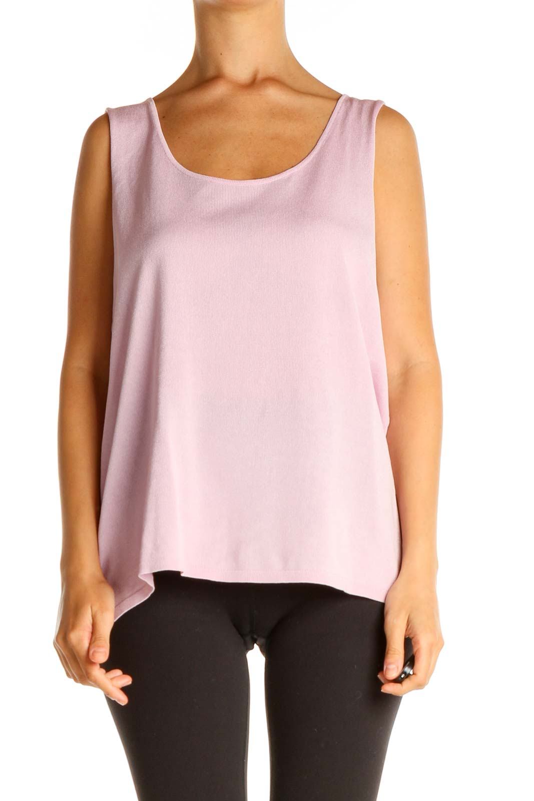 Pink Solid All Day Wear Tank Top Front
