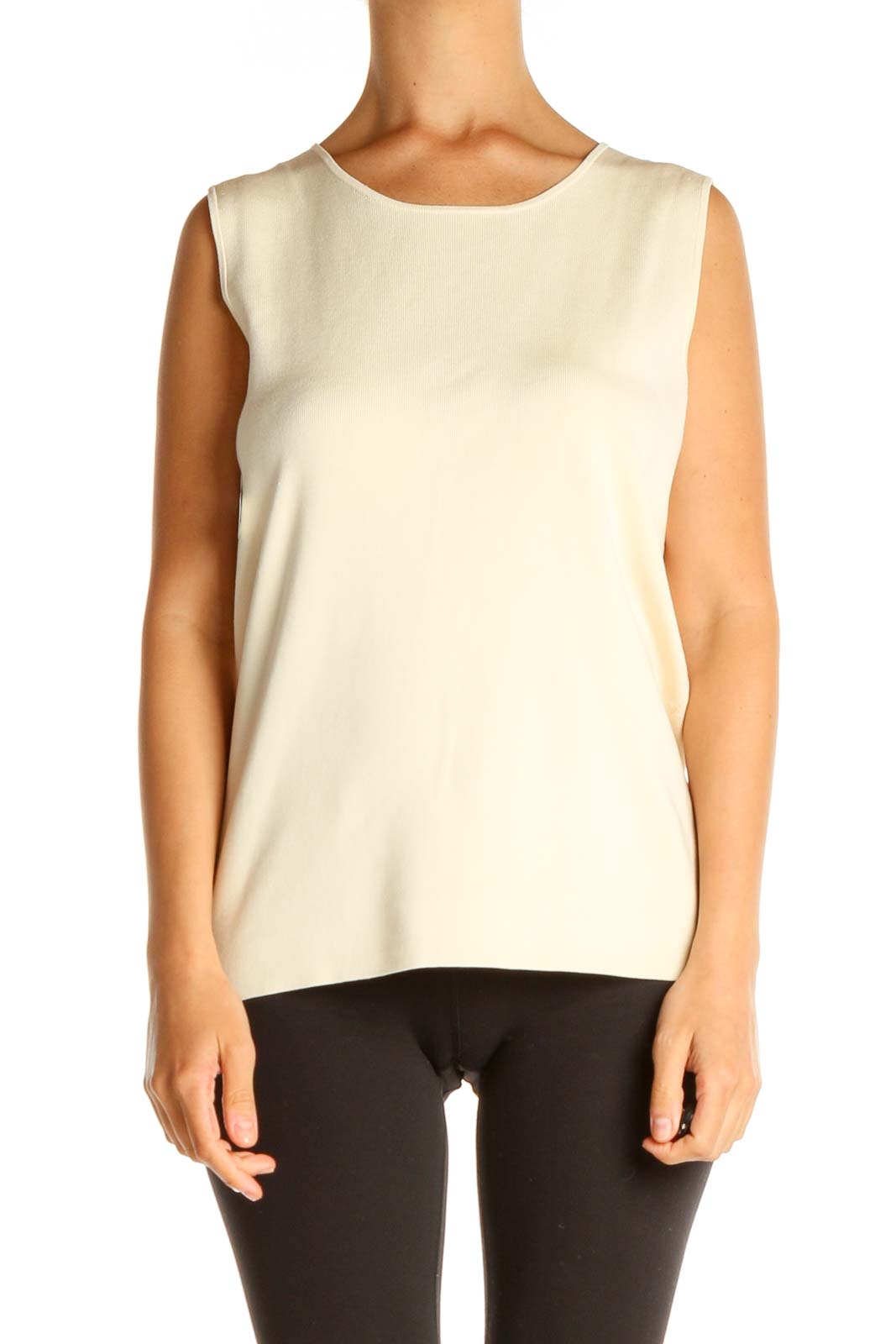 Beige Solid All Day Wear Tank Top Front