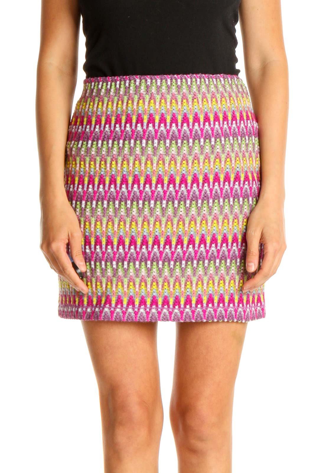 Pink Printed Chic Straight Skirt Front