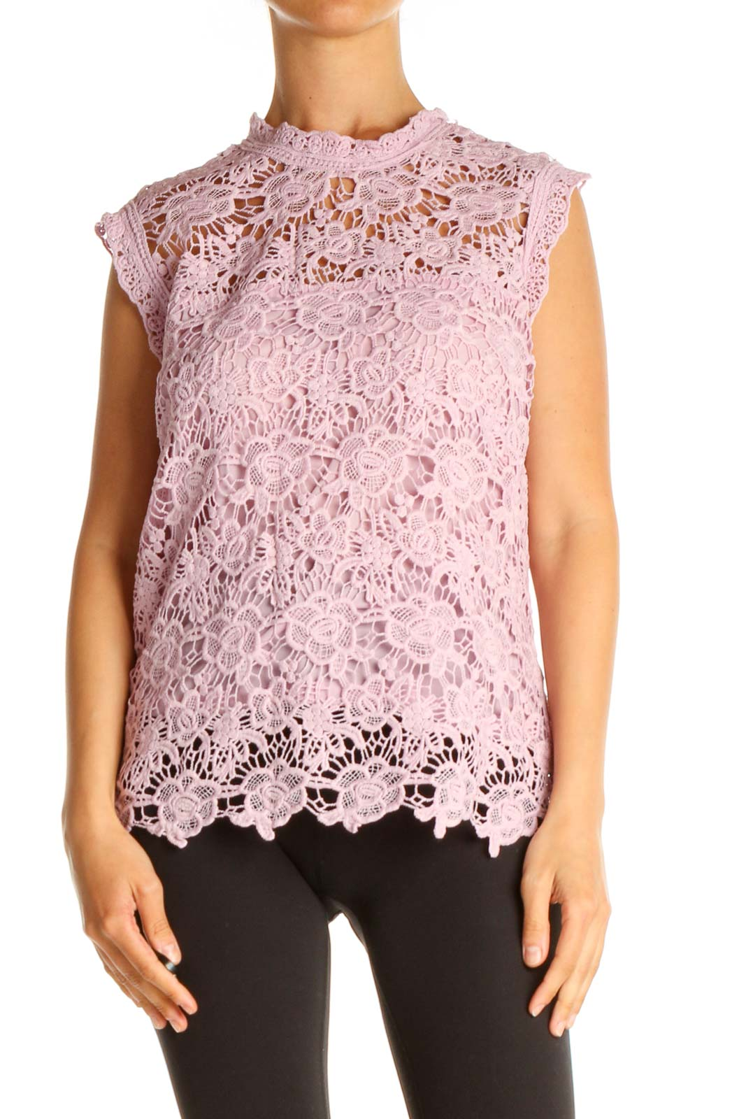Pink Lace Classic Blouse Front