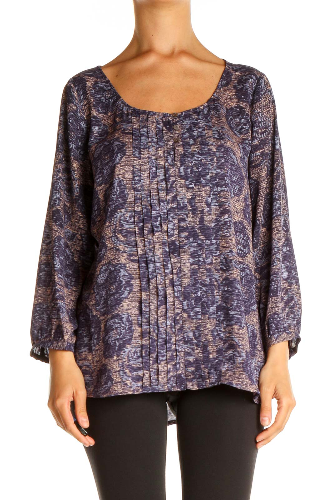 Purple Printed Retro Blouse Front