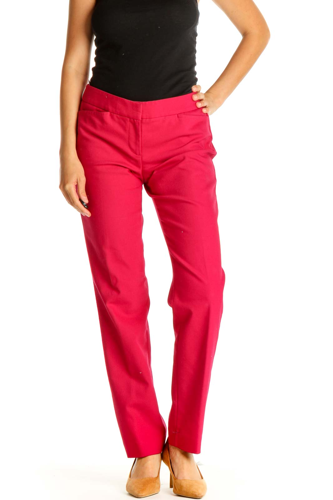 Pink Solid Casual Trousers Front