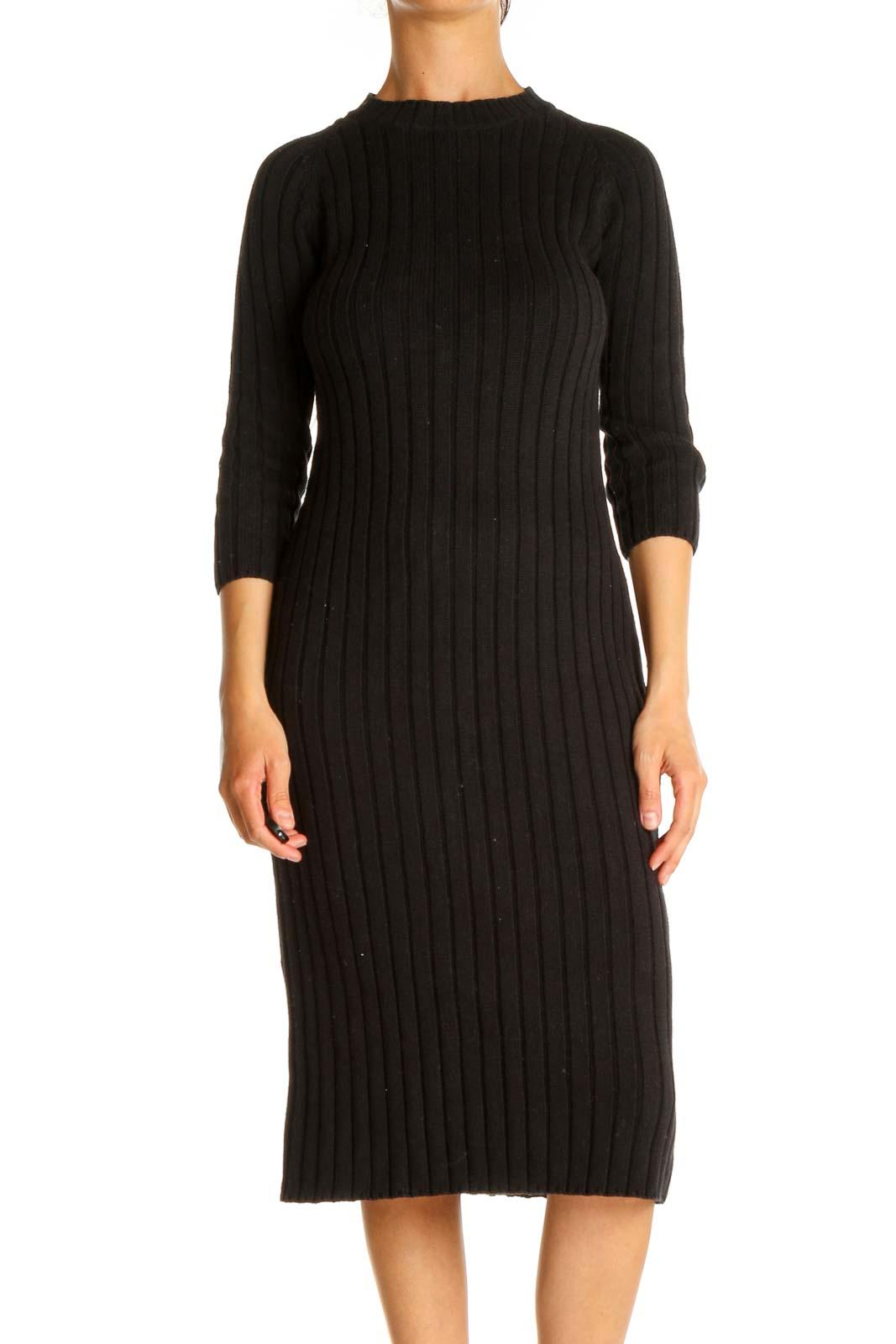 Black Textured Day Sheath Dress Front