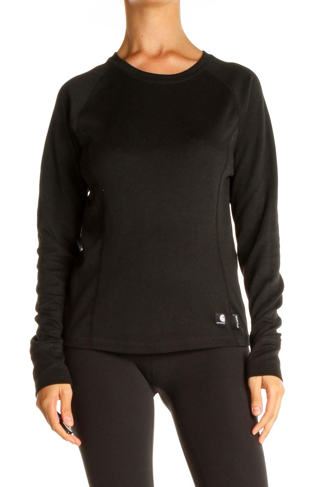 Black Activewear Top Front
