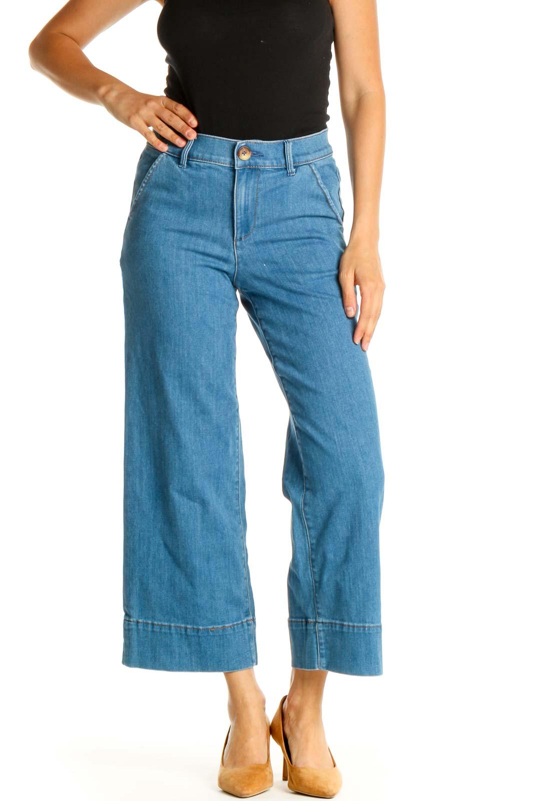 Blue Wide Leg Jeans Front