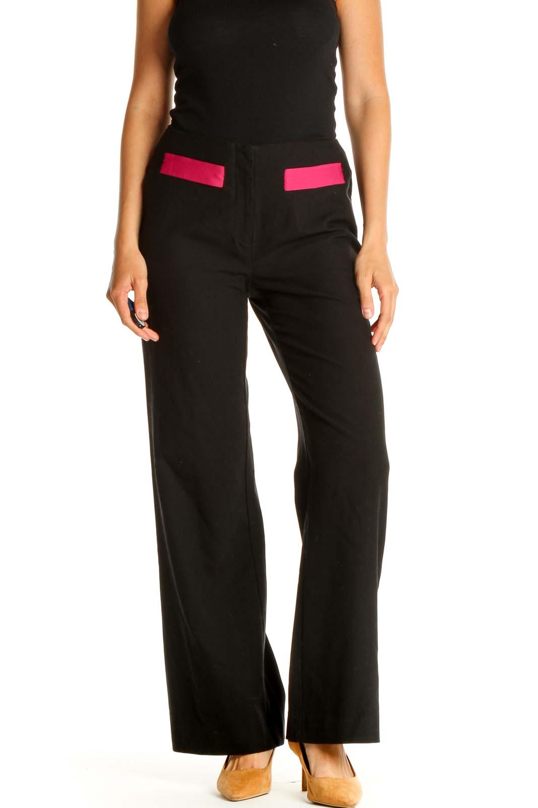 Black Solid Retro Trousers Front