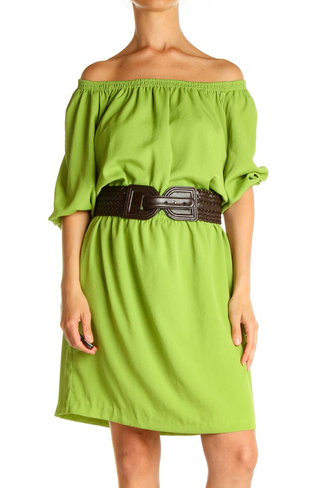 Green Solid Day Shift Dress Front