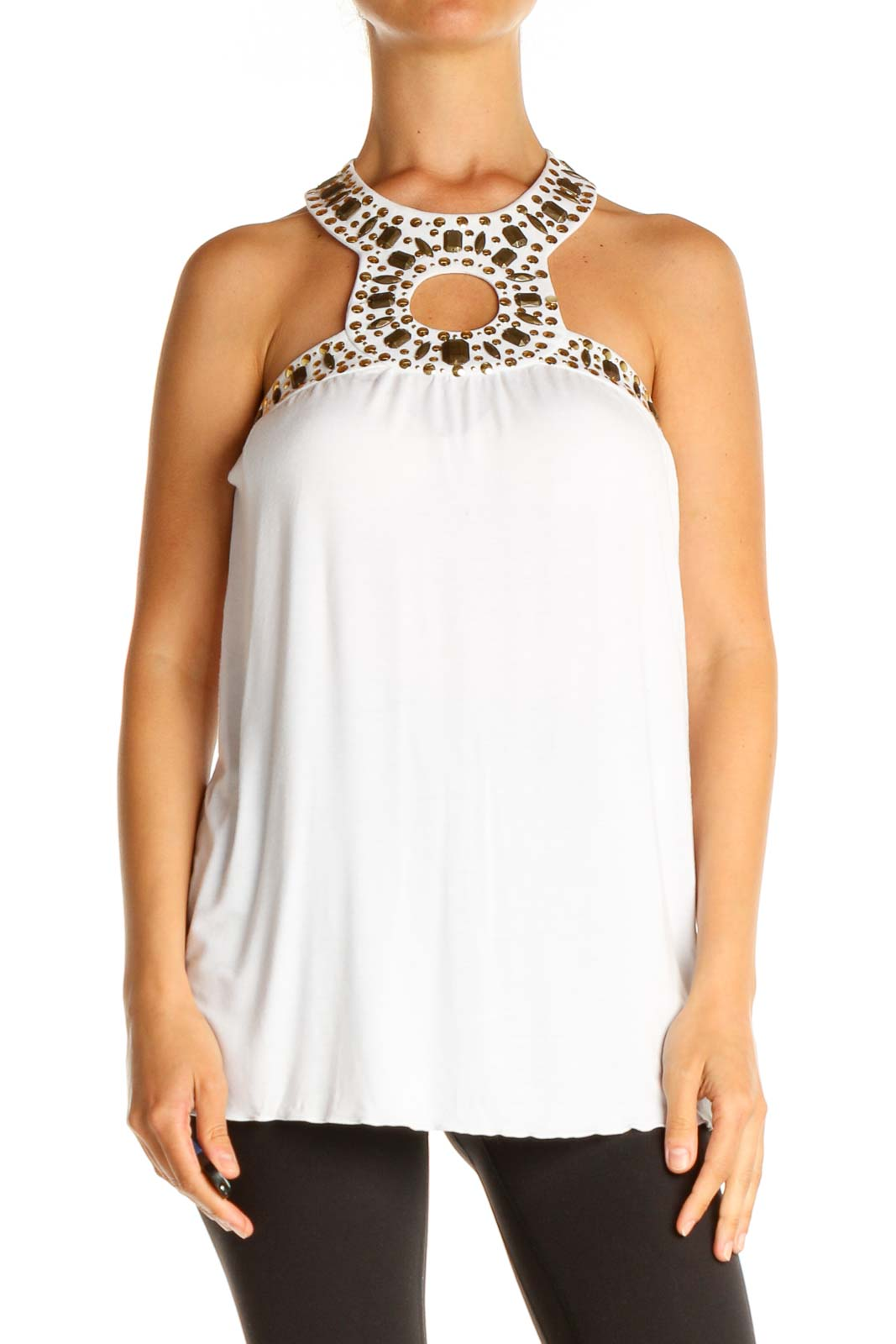 White Solid Holiday Blouse Front
