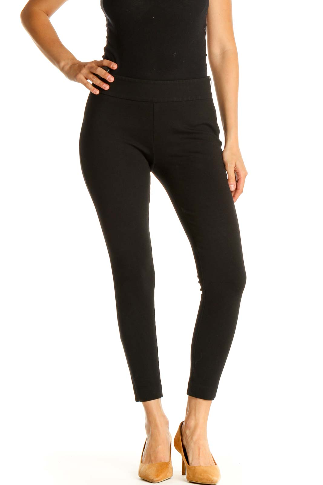 Black Solid Skinny Pants Front