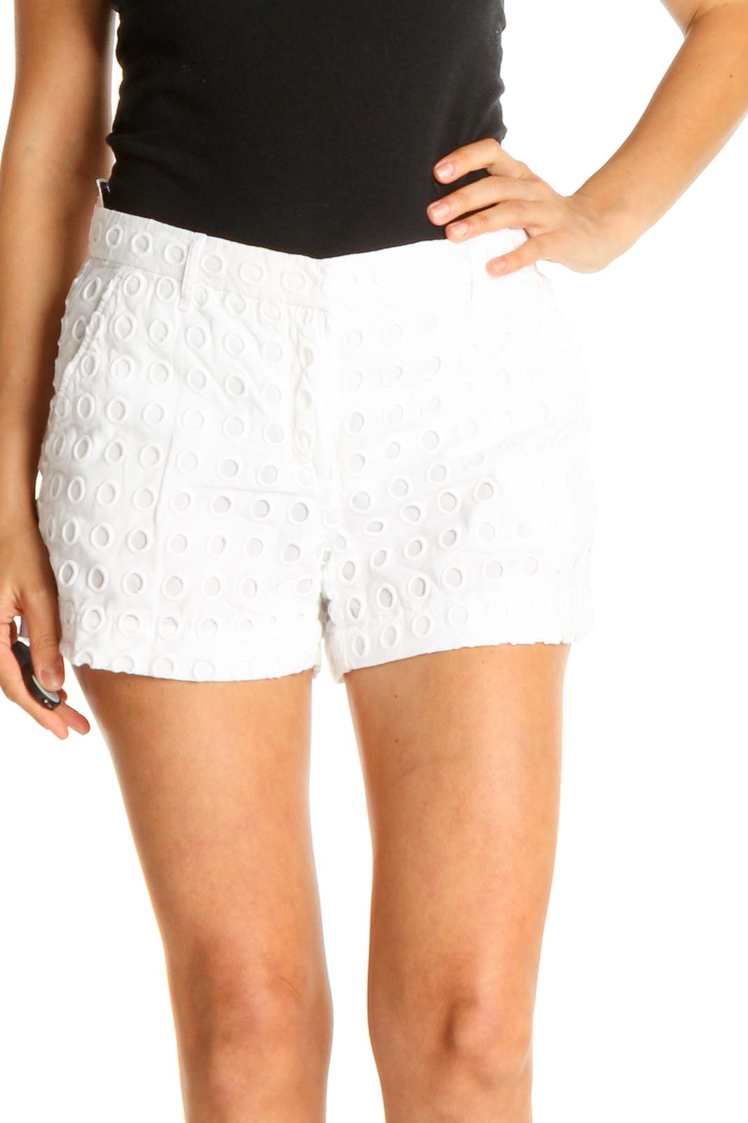 White Polka Dot Brunch Shorts Front