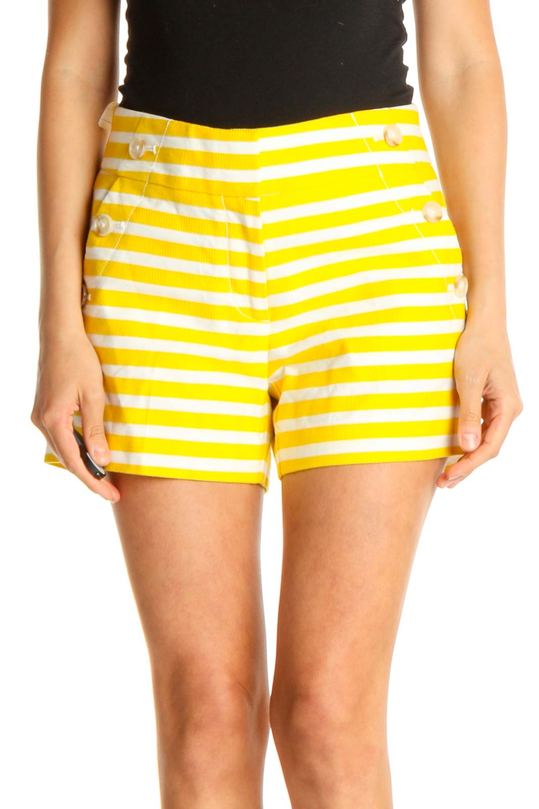 Yellow and White Striped Casual Shorts Front