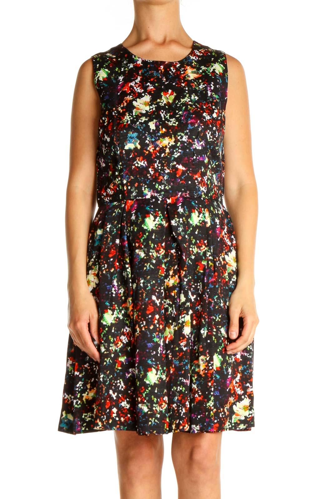 Black Floral Print Classic Dress Front