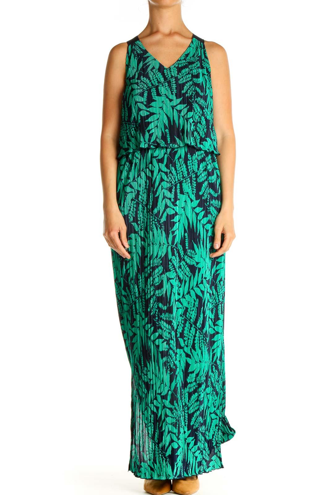 Green Tropical Print Bohemian Column Dress Front