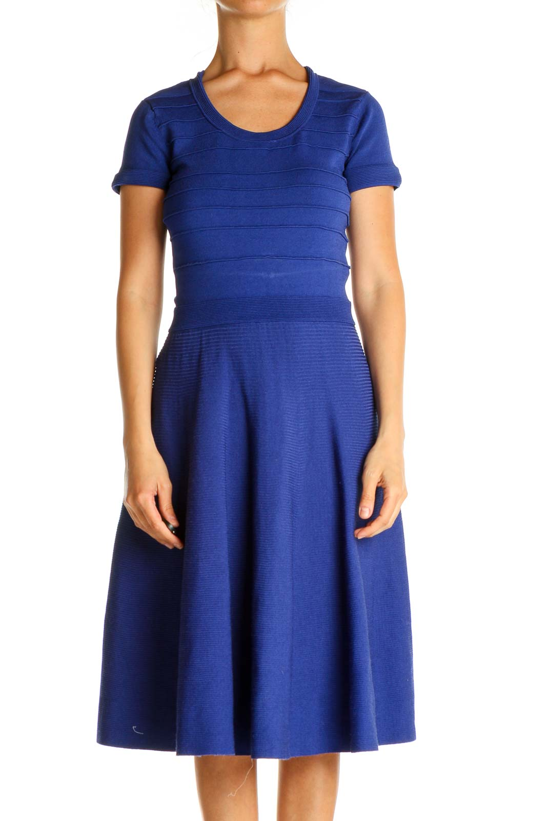 Purple Solid Day Fit & Flare Dress Front