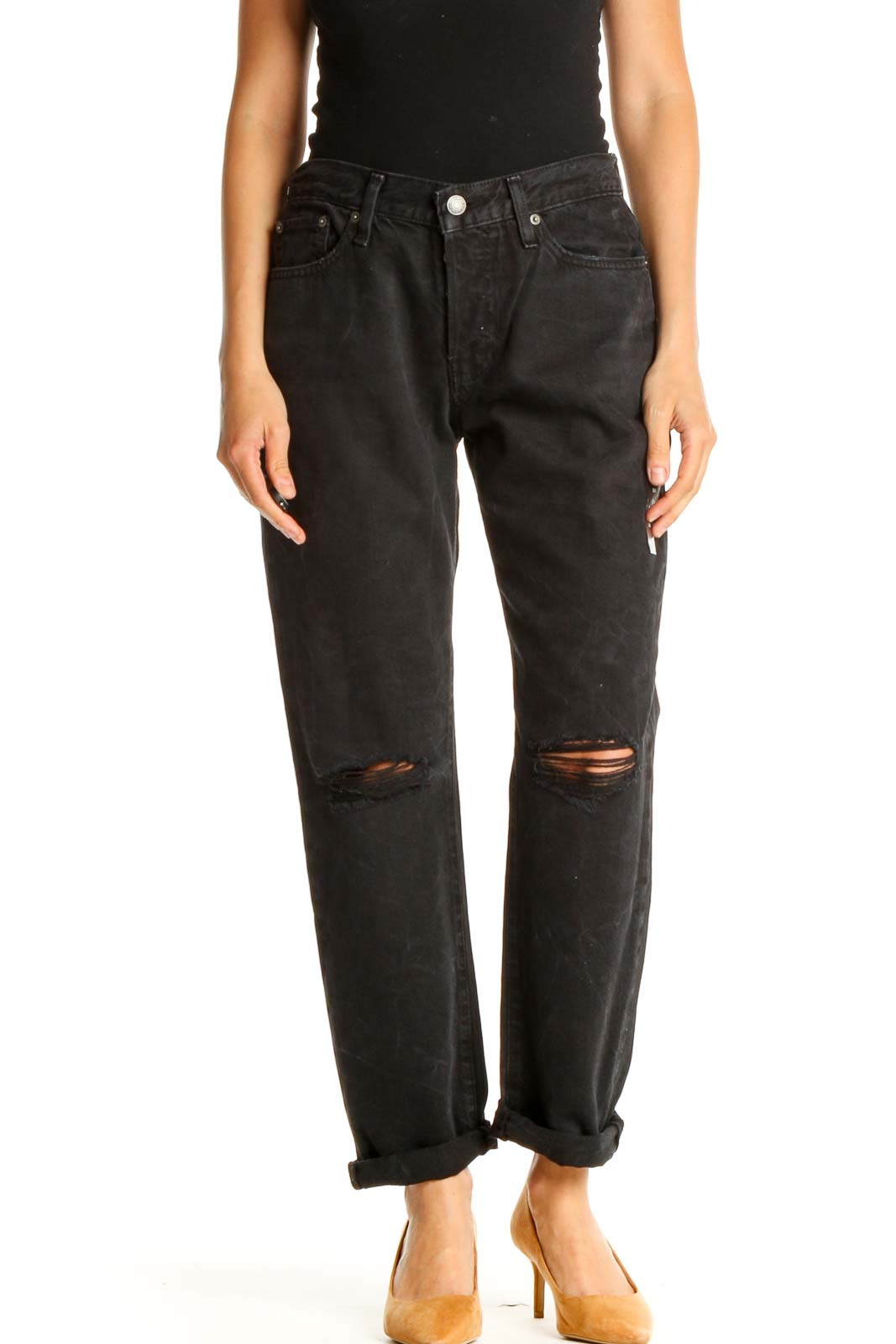 Black Ripped Straight Leg Jeans Front