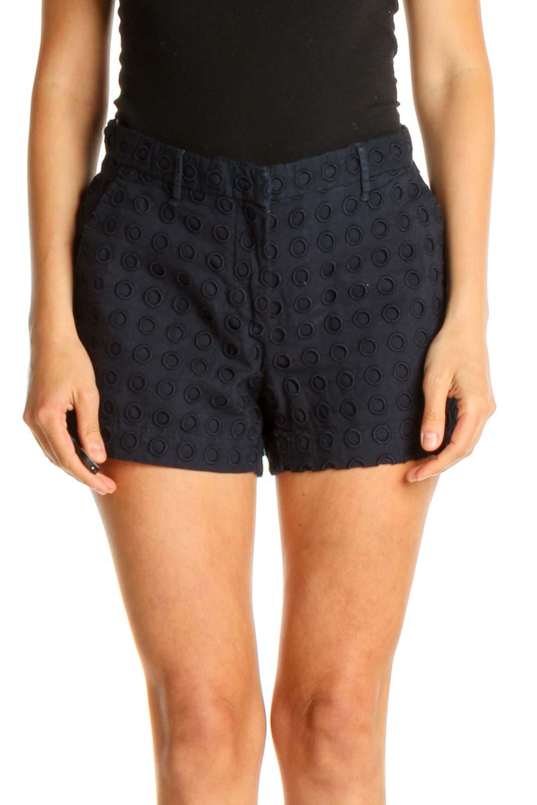 Blue Polka Dot Casual Shorts Front