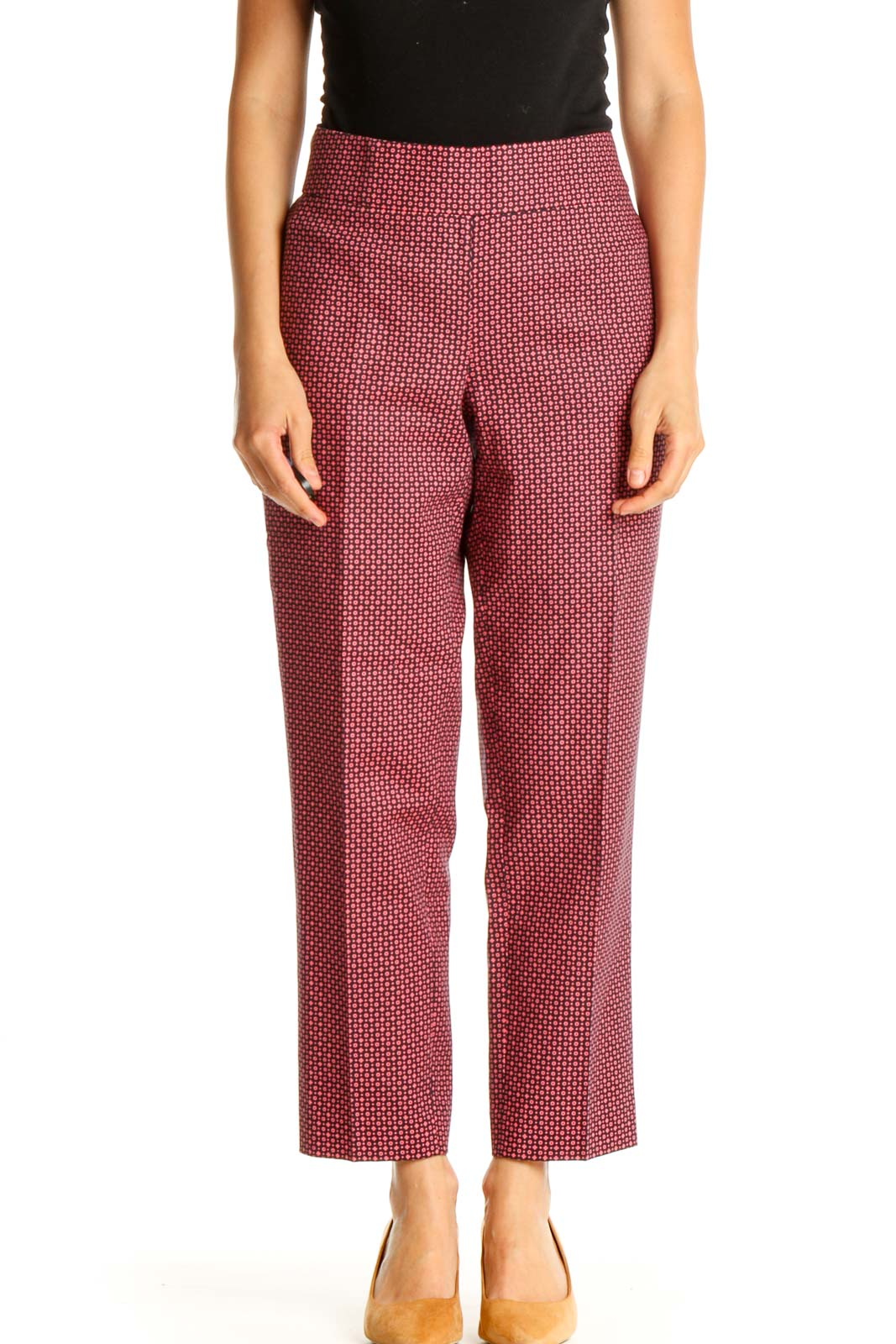 Pink Printed Bohemian Trousers Front