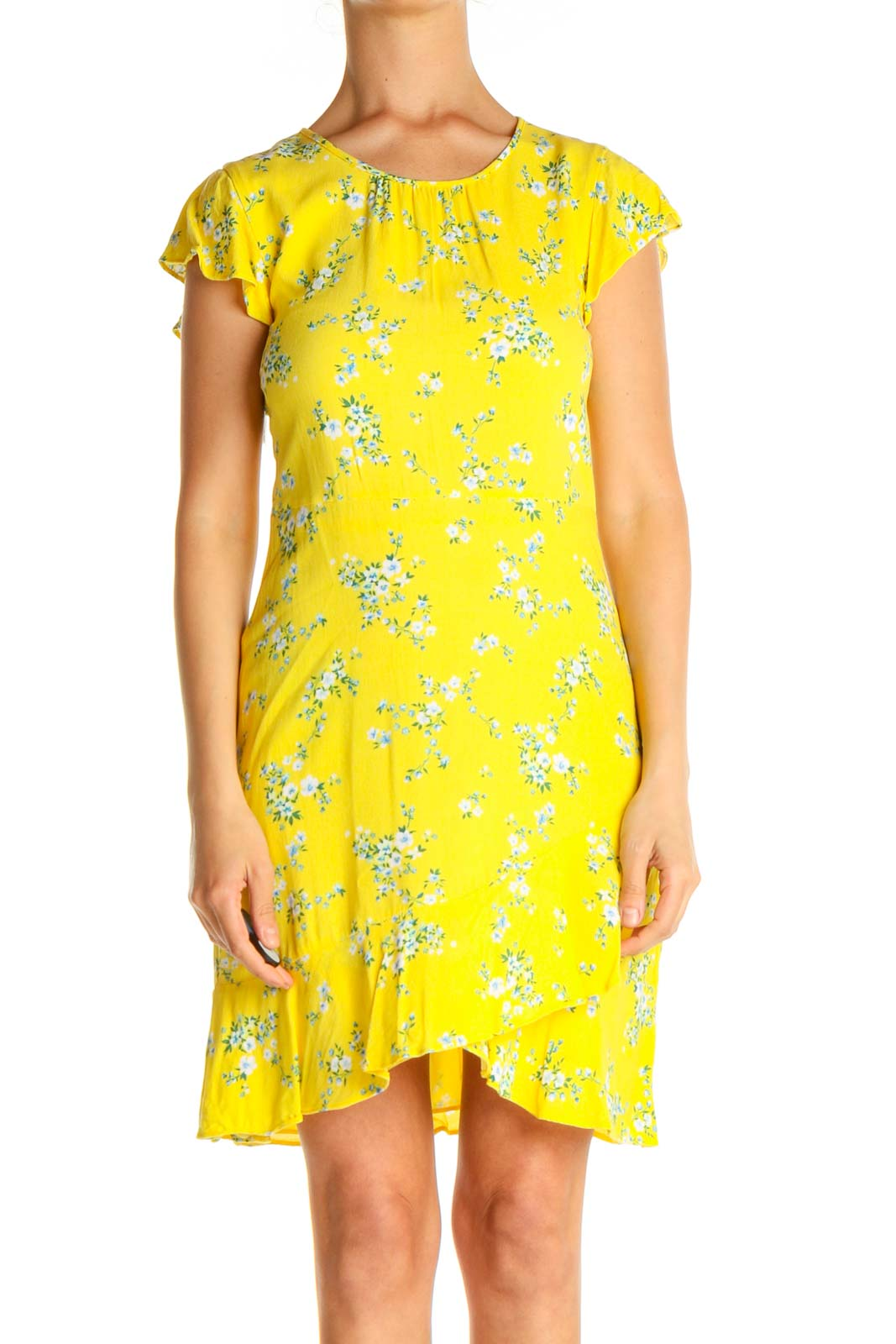 Yellow Floral Print Day Sheath Dress Front