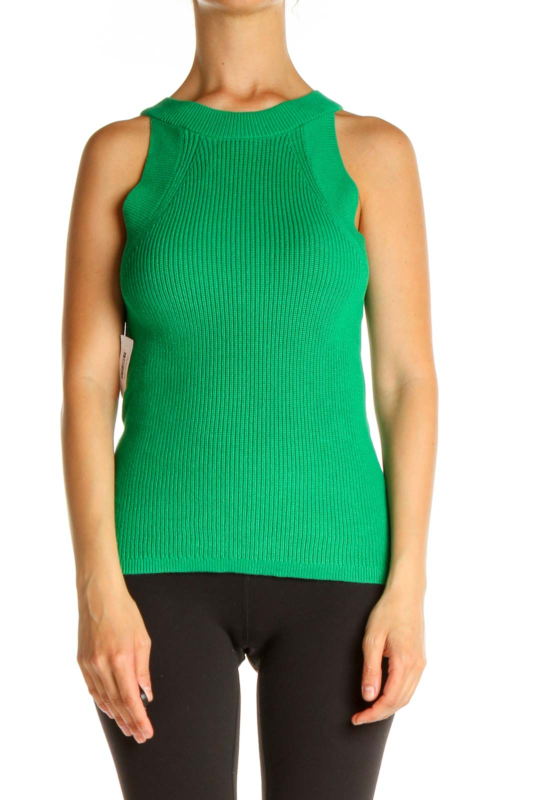 Green Solid All Day Wear Sleeveless Sweater Front