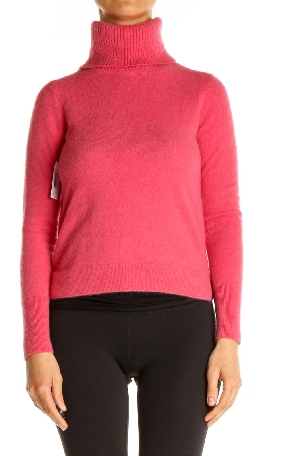 Pink Solid Casual Sweater Front