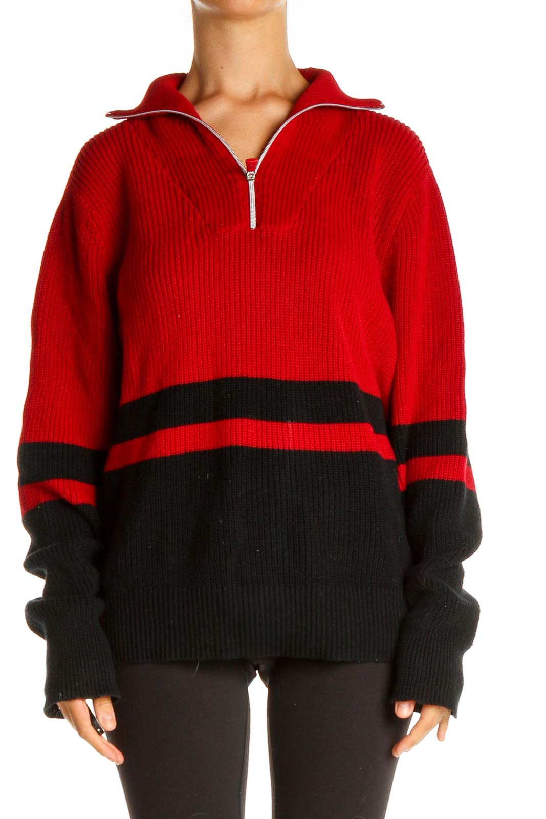 Red Colorblock Retro Sweater Front