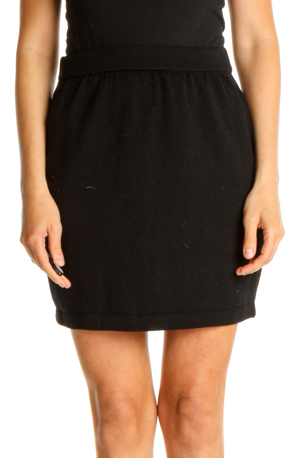 Black Solid Chic Pencil Skirt Front