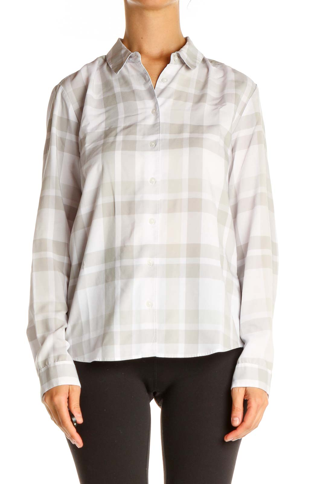 White Checkered All Day Wear Shirt Front