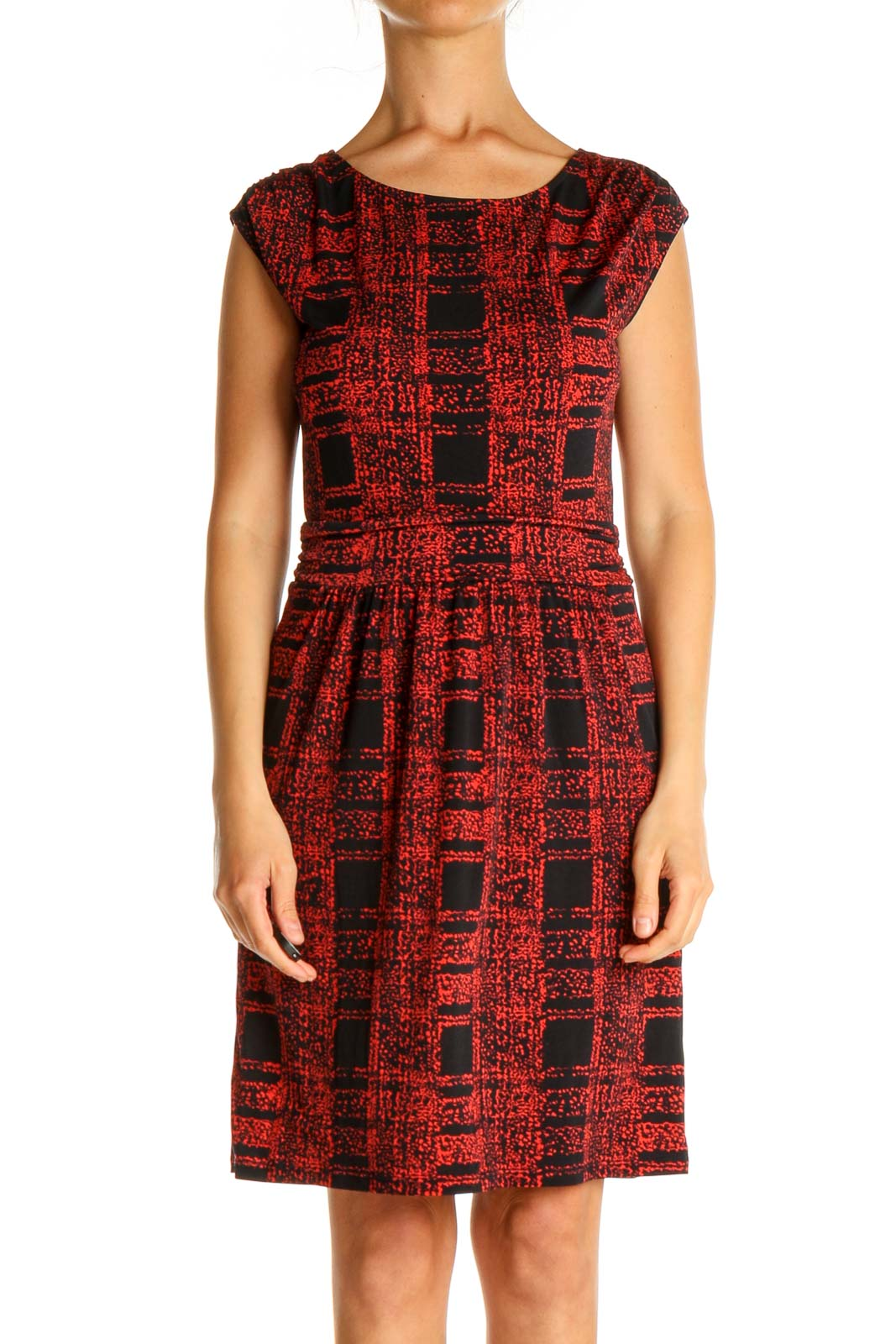 Red Checkered Work Fit & Flare Dress Front