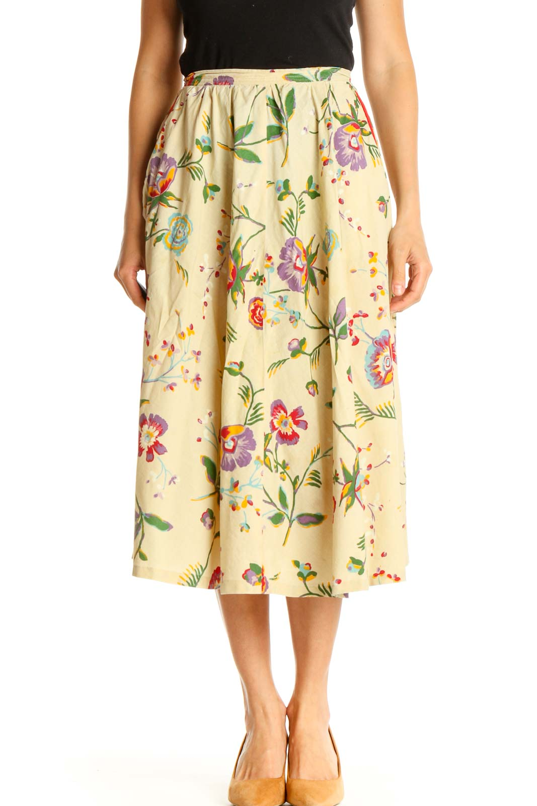Yellow Floral Print Retro A-Line Skirt Front