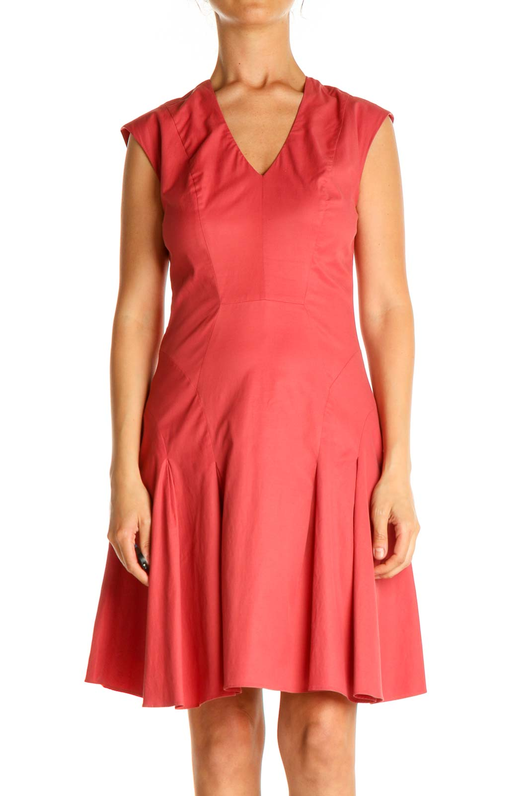Pink Solid Day Fit & Flare Dress Front