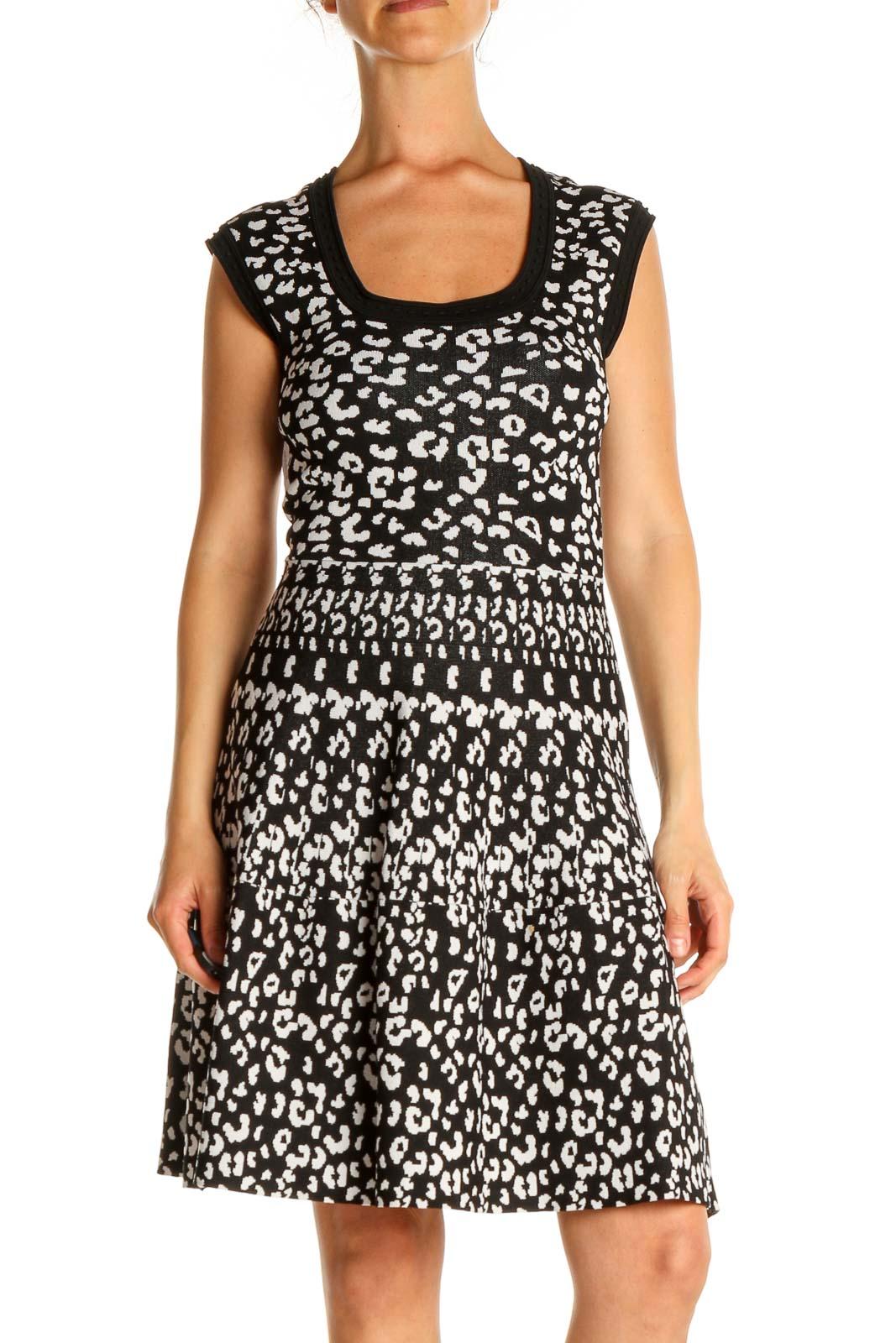 Black Animal Print Fit & Flare Dress Front