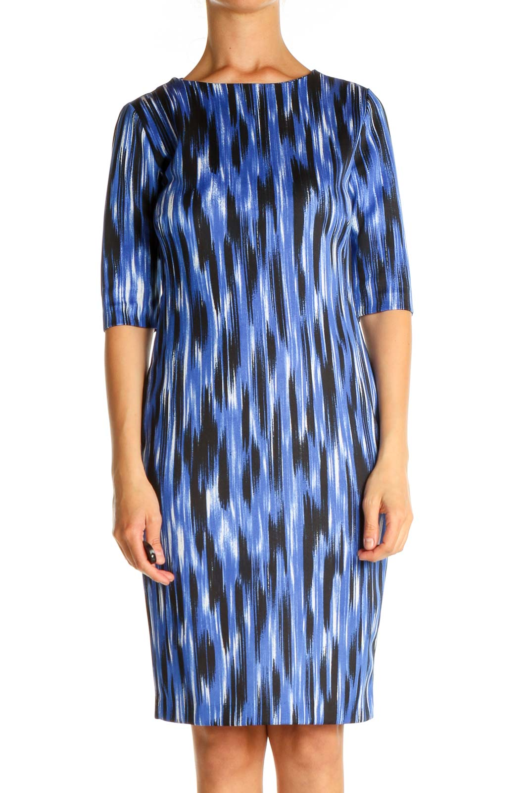 Blue Printed Work Shift Dress Front