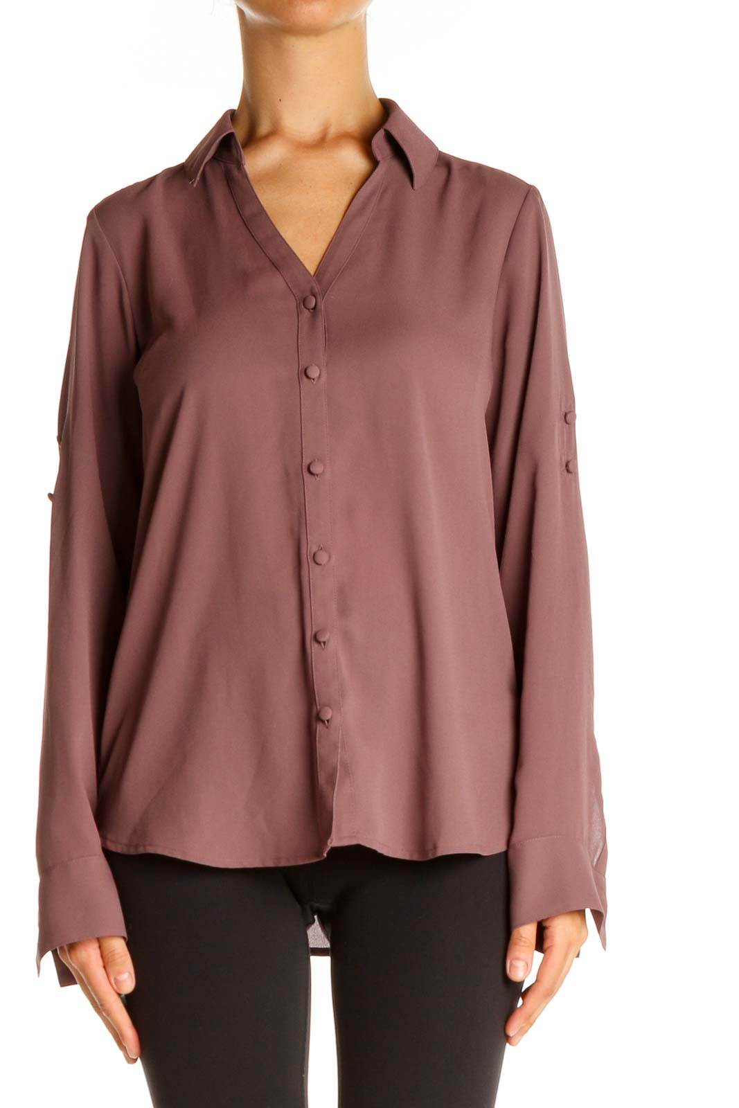 Brown Solid Formal Shirt Front