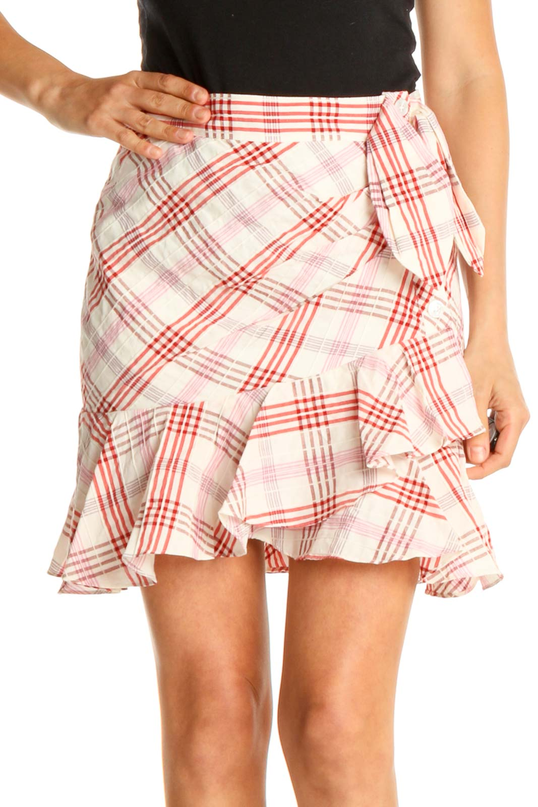 Pink Checkered Holiday A-Line Skirt Front